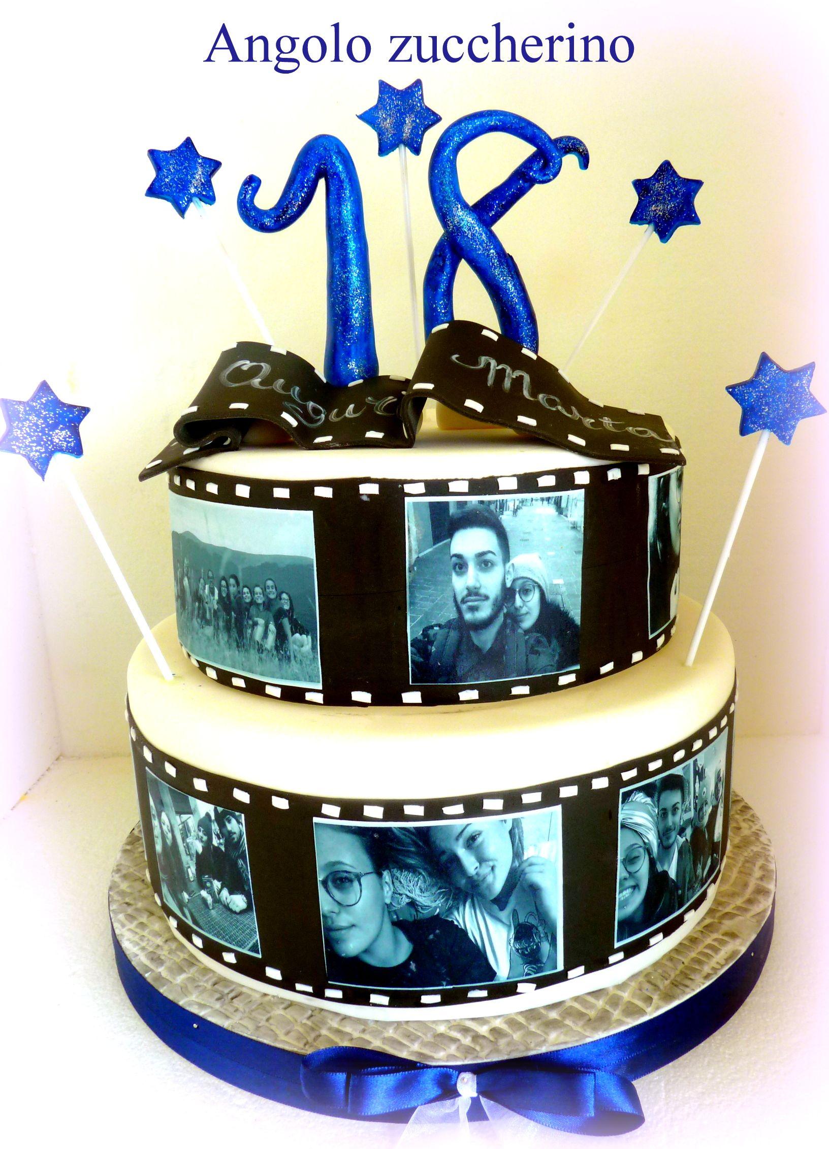 torta 18 anni ragazza con foto stampate su pasta di