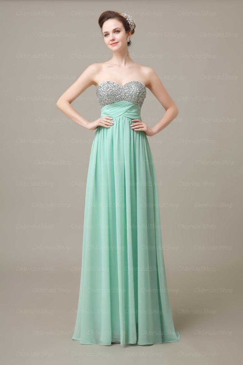 sequin prom dress, mint prom dresses, long prom dress, chiffon prom ...