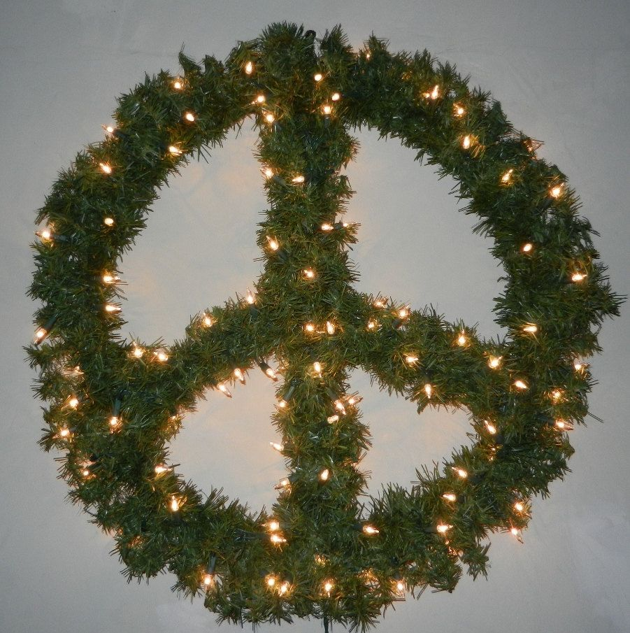 Christmas peace sign wreath winter decoration with lights christmas peace sign wreath winter decoration with lights biocorpaavc