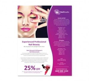 Nail Beauty Salon Flyer Template  Spa    Flyer