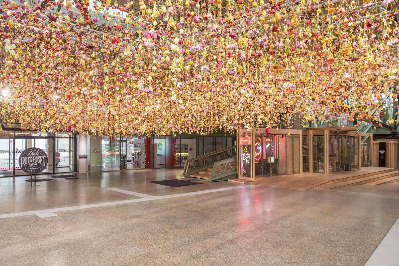 30,000 suspended, real flowers make for a one-of-a-kind deconstructed garden in this transient art installation