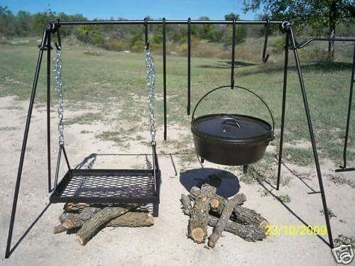 Repurpose an old swing set for the ultimate barbecue