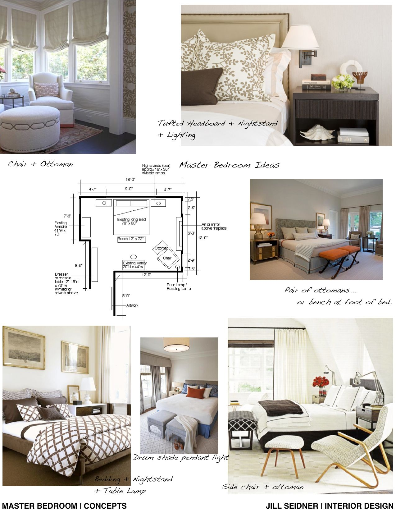 Master Bedroom Furniture Layout concept board and furniture layout for a master bedroom. | jill