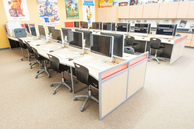 Computer lab furniture by interior concepts shown in a for Computer lab chairs for schools