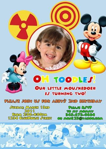 Oh Toodles Mickey Minnie Mouse Clubhouse Custom Birthday Invitation