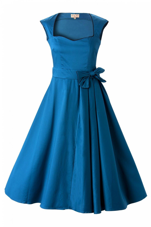 Lindy Bop - Lindy Bop - 1950's Grace Blue Bow vintage style swing party rockabilly e