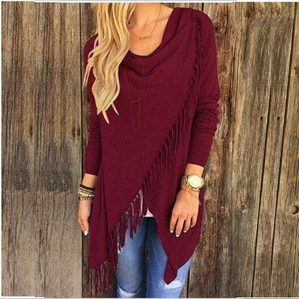 010c525c9 Women s Irregular Tassel Knitted Cardigan Loose Sweater Jacket ...