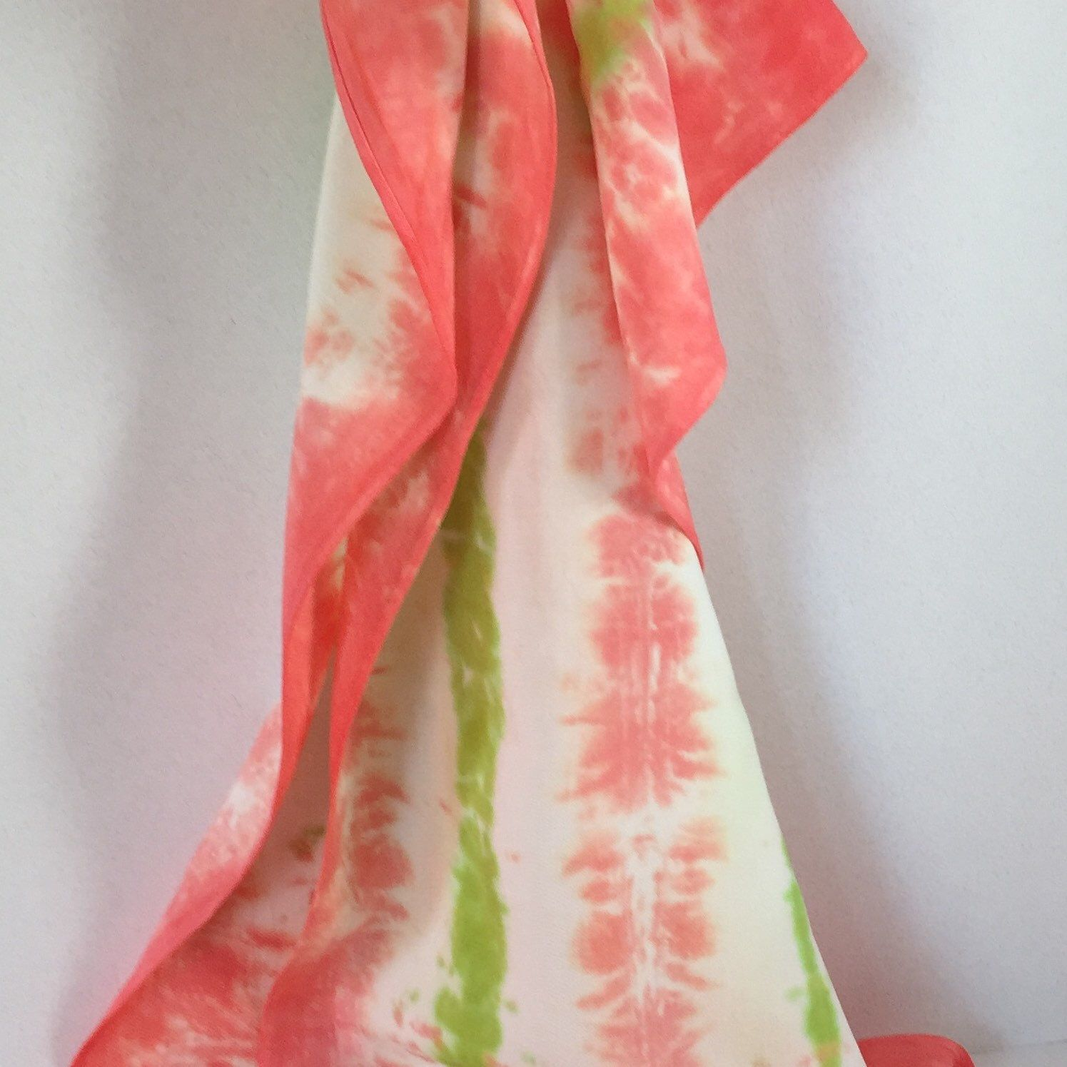 Bamboo rayon scarf, in trending  flamingo pink and lime green. Yummy softness . 14x 72