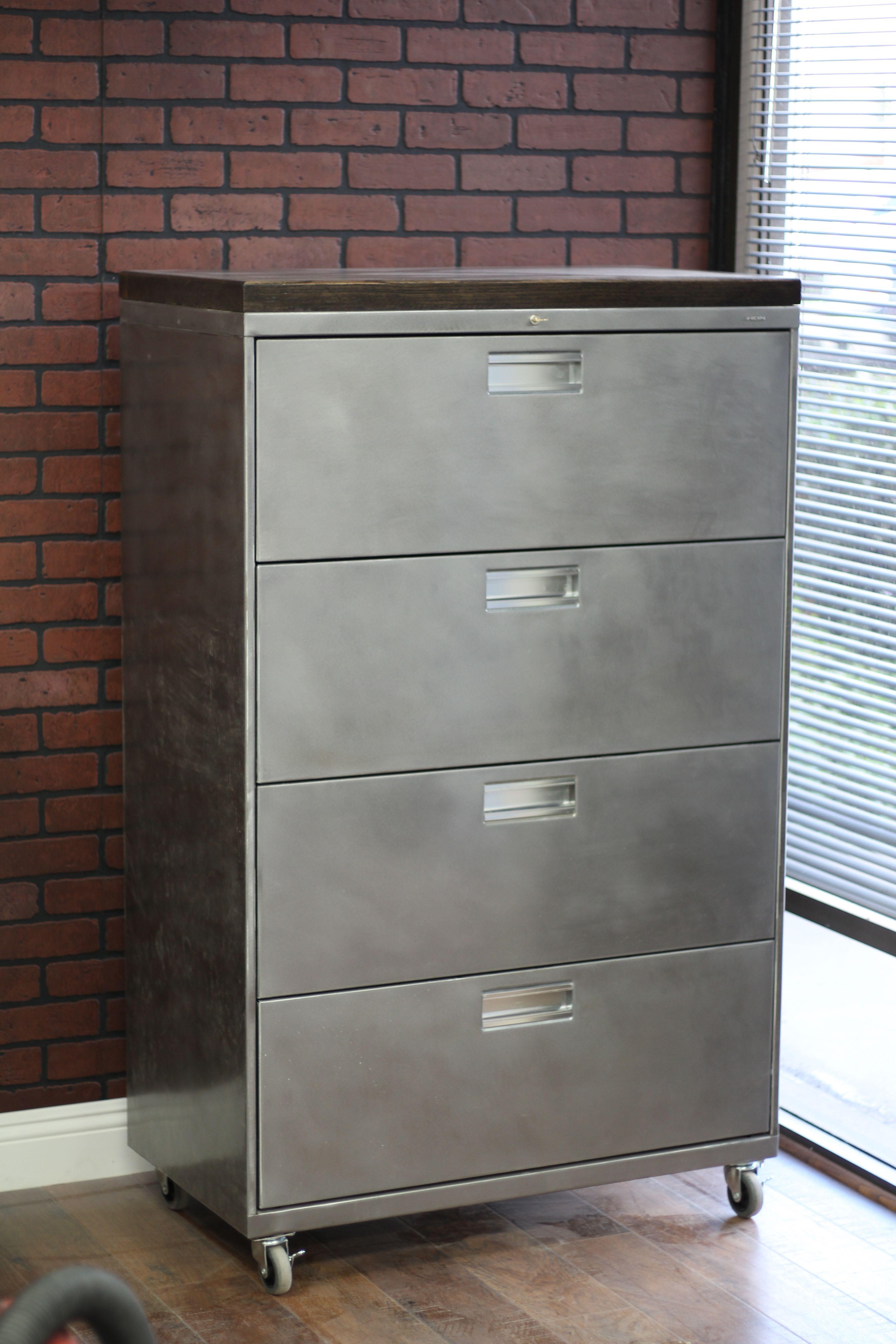 Refinished Large 4 Drawer Metal Filing Cabinet W Wood Top Etsy Filing Cabinet Metal Filing Cabinet Cabinet