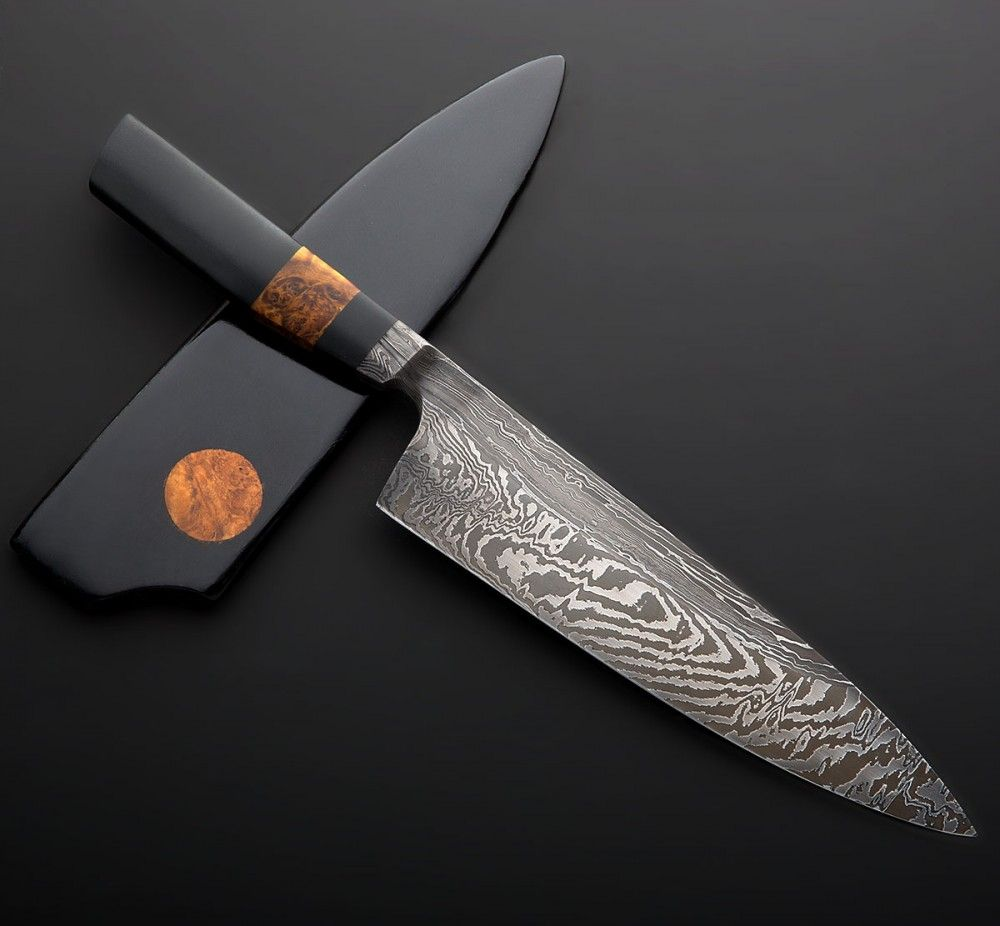 japanese handmade kitchen knives micarta amp damascus chef 215mm ножи 19067
