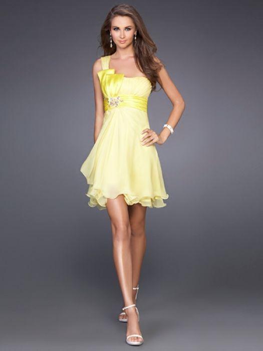 Short Yellow Formal Dress