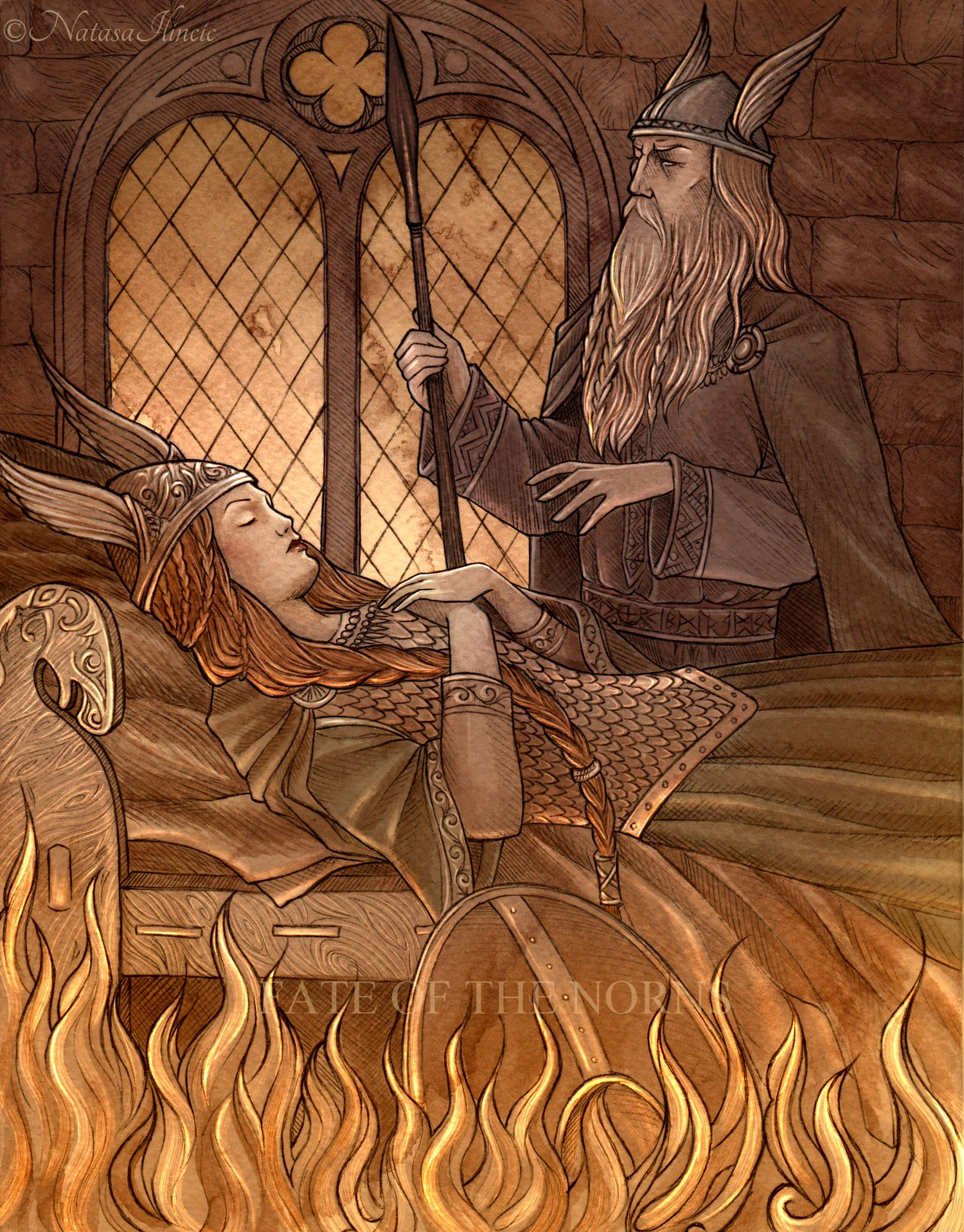 Odin imprisons Brunhilde in a ring of fire. Ink, watercolour, PS. Artwork for The Illuminated Edda
