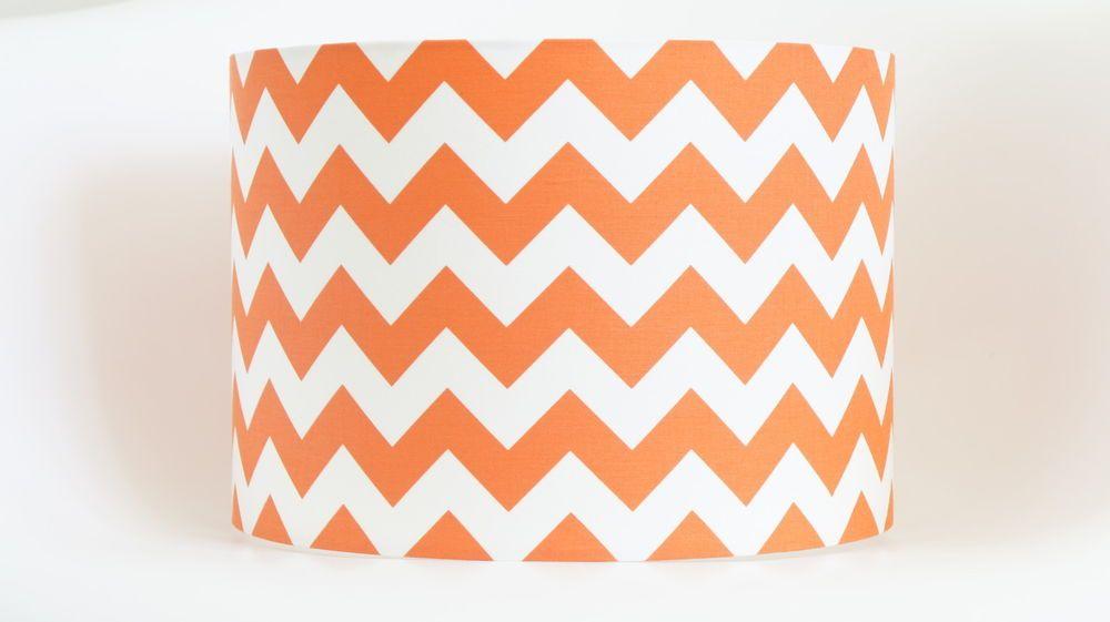 Lampshade in orange and white chevron zig zag fabric drum ...