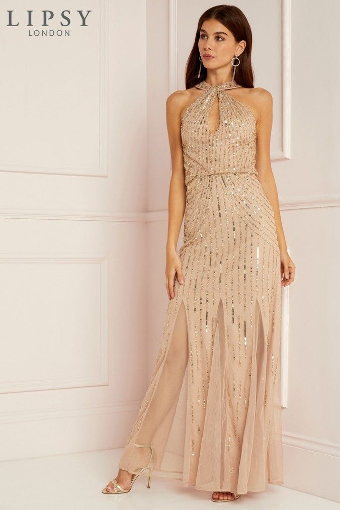 0c88c272 Womens Lipsy All Over Sequin Twist Halterneck Maxi Dress - Gold ...