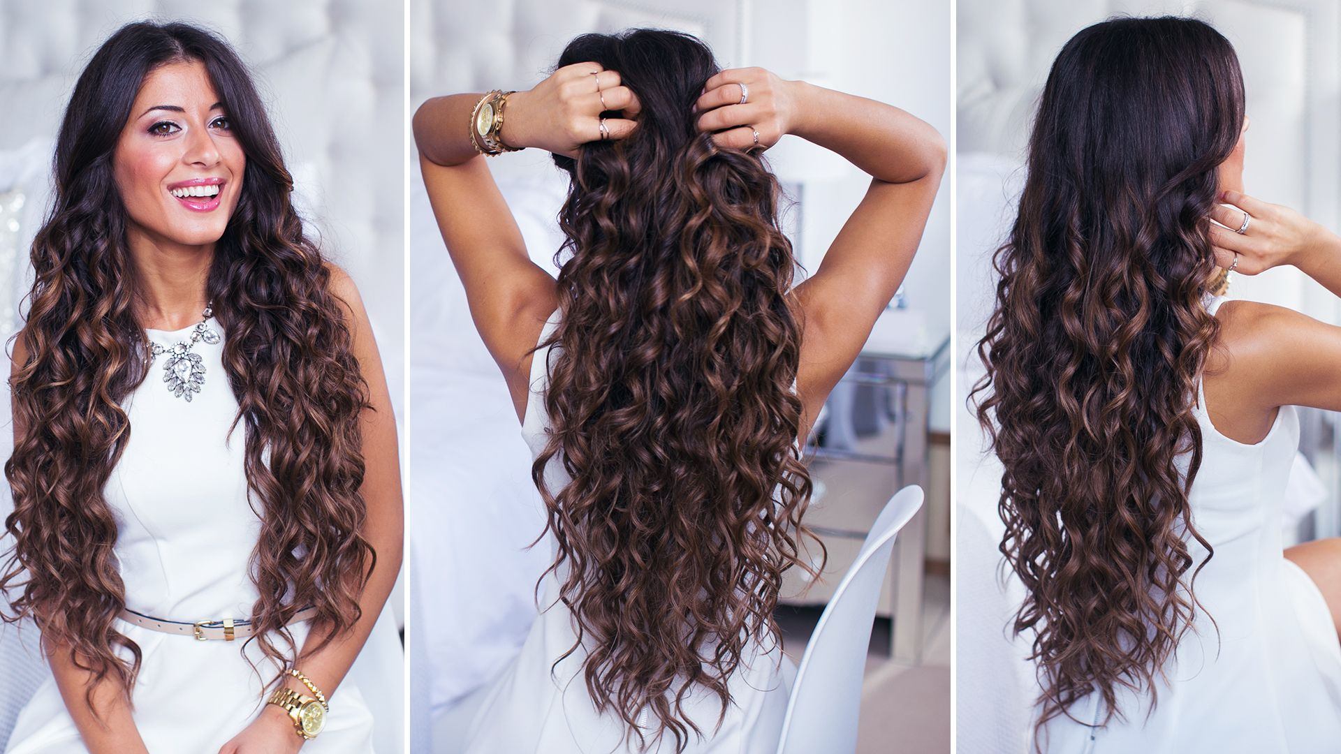 Perfect curls achieved with curling wand on super long Ombre