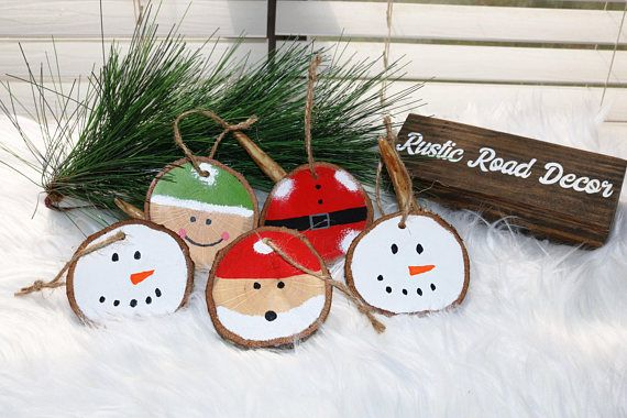Wood Slice Ornaments Rustic Christmas Decor Ornament Set Primitive Or
