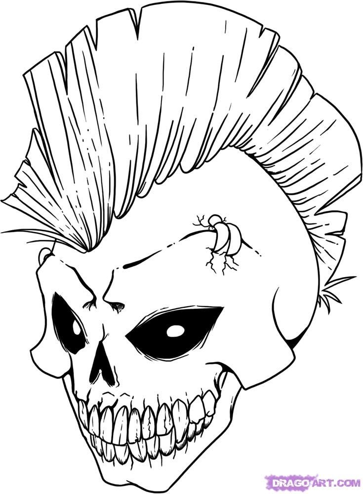 Cool drawings of dragon skulls draw a skull step by for Coloring pages cool