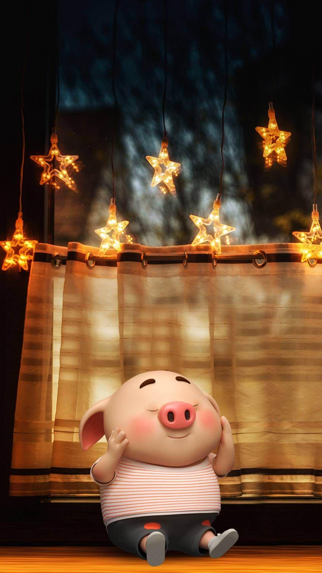 Hình nền cho iphone chú lợn tinh nghịch cực dễ thương - hình nền tết đẹp