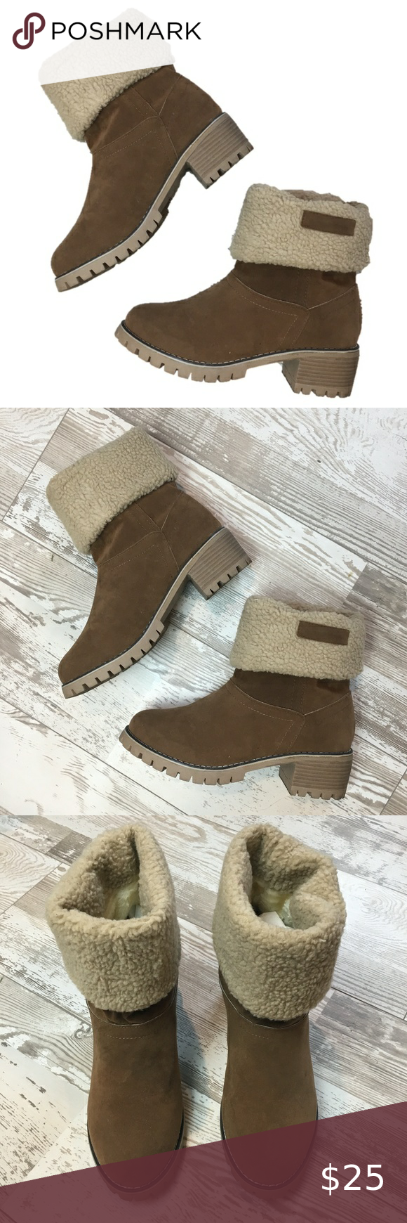 Fold Over Sherpa Lined Block Heel Boots