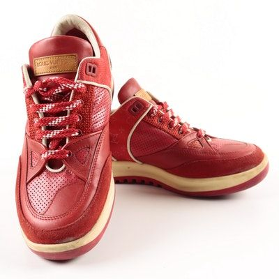 e4704e9bf48e Women s Louis Vuitton Red Leather and Canvas Sneakers