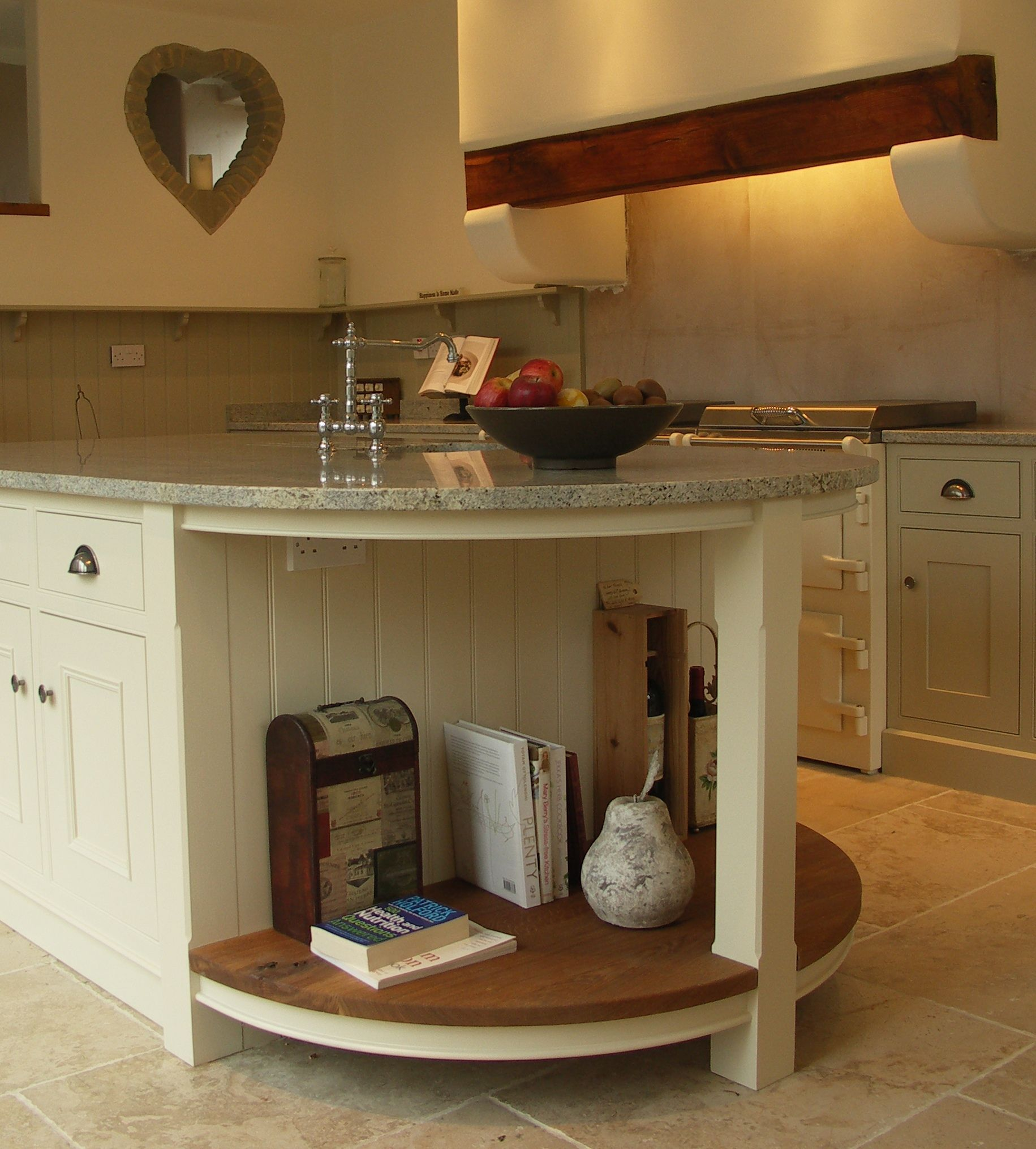 Sandblasted English Oak Island Shelving To Compliment The Painted Cabinetry Cocinas