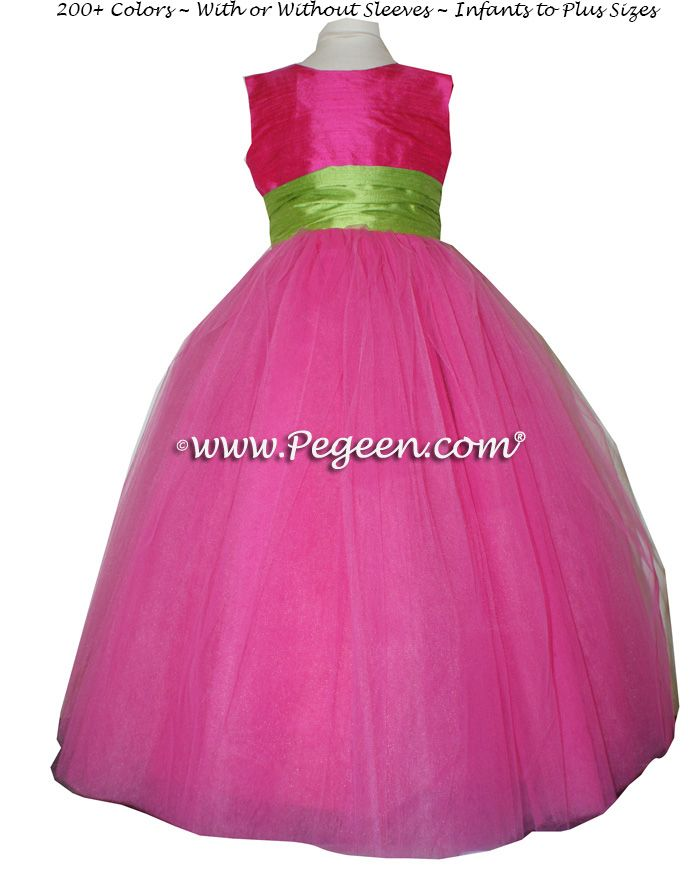 Lime green and pink bridesmaid dresses wedding | Hot Pink and Apple ...