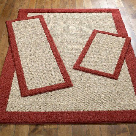 Mainstays Faux Sisal 3-Piece Area Rug Set, Red
