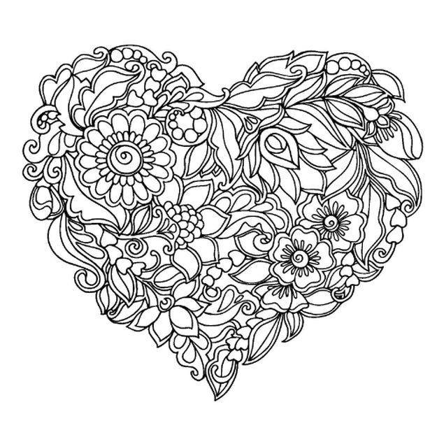 coloring pages of flowers and hearts | abstract heart coloring pages for grown ups | Heart ...
