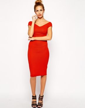 58a3d789b0b8 $37.88 burnt orange perfect for the Christmas Party!! ASOS! New Look  Textured Bardot Pencil Dress