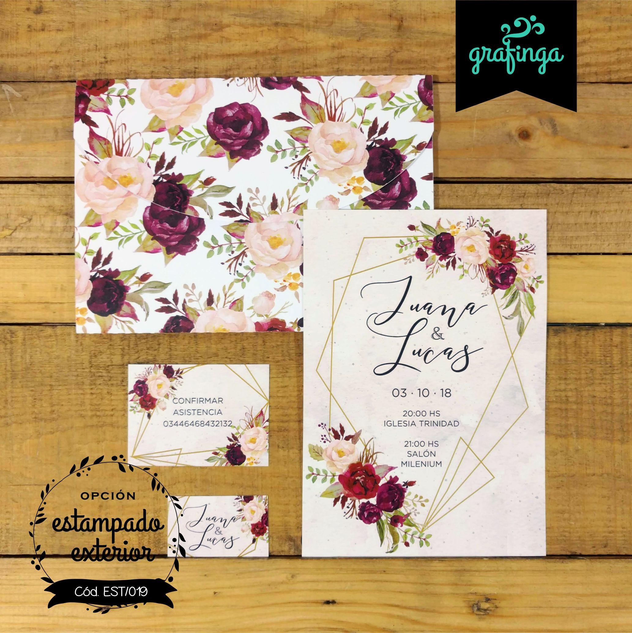 Tarjetas Invitaciones Originales Con Sobres Estampados Para