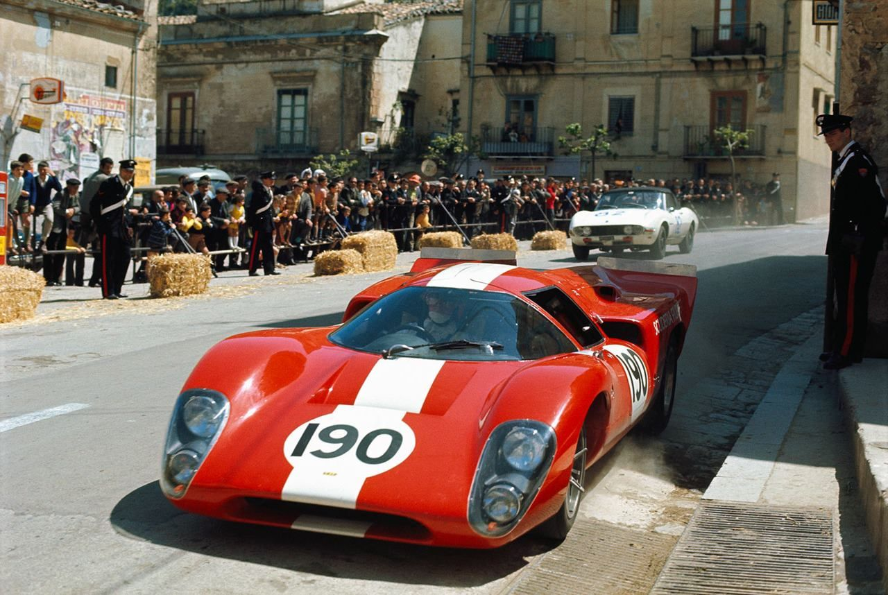 Lola T70 Mk. IIIB GT driven by Jo Bonnier and Herbert Müller at Targa Florio in 1969