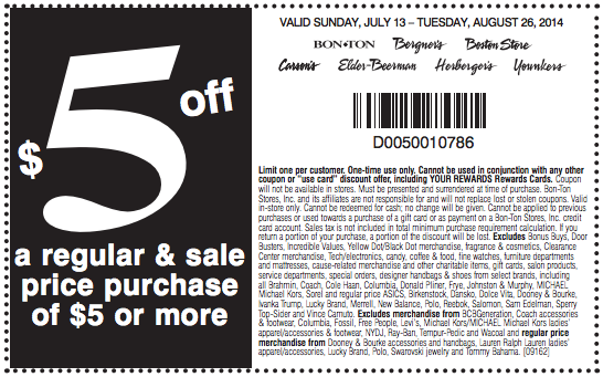 Carson's Printable Coupon 5 off a regular and sale price