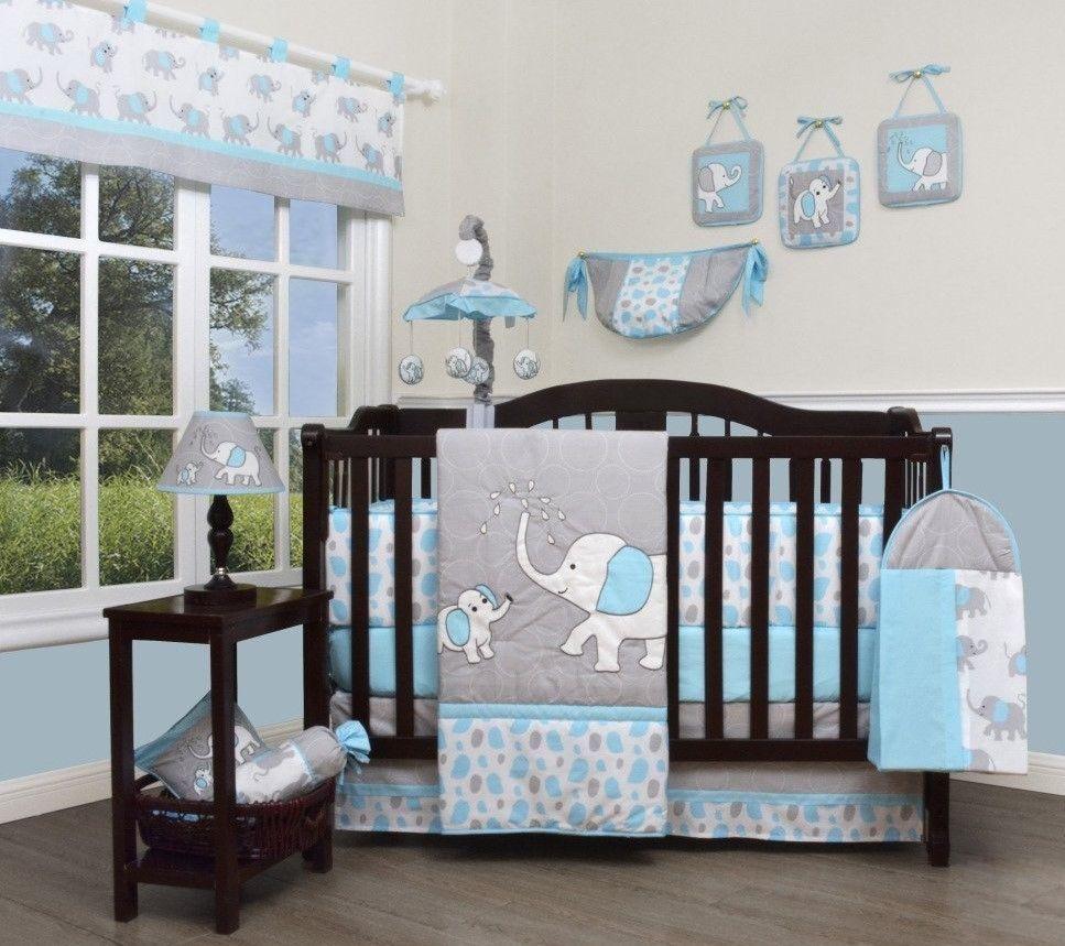 Nursery Crib Bedding Set 13 Piece Baby Blue Grey Elephant Boy