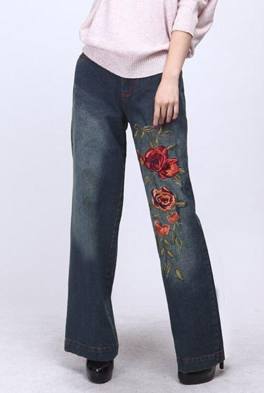 1e1ce18fe Aliexpress.com  Comprar Mujeres bordado jeans cintura alta denim vaqueros  de pierna ancha pantalones