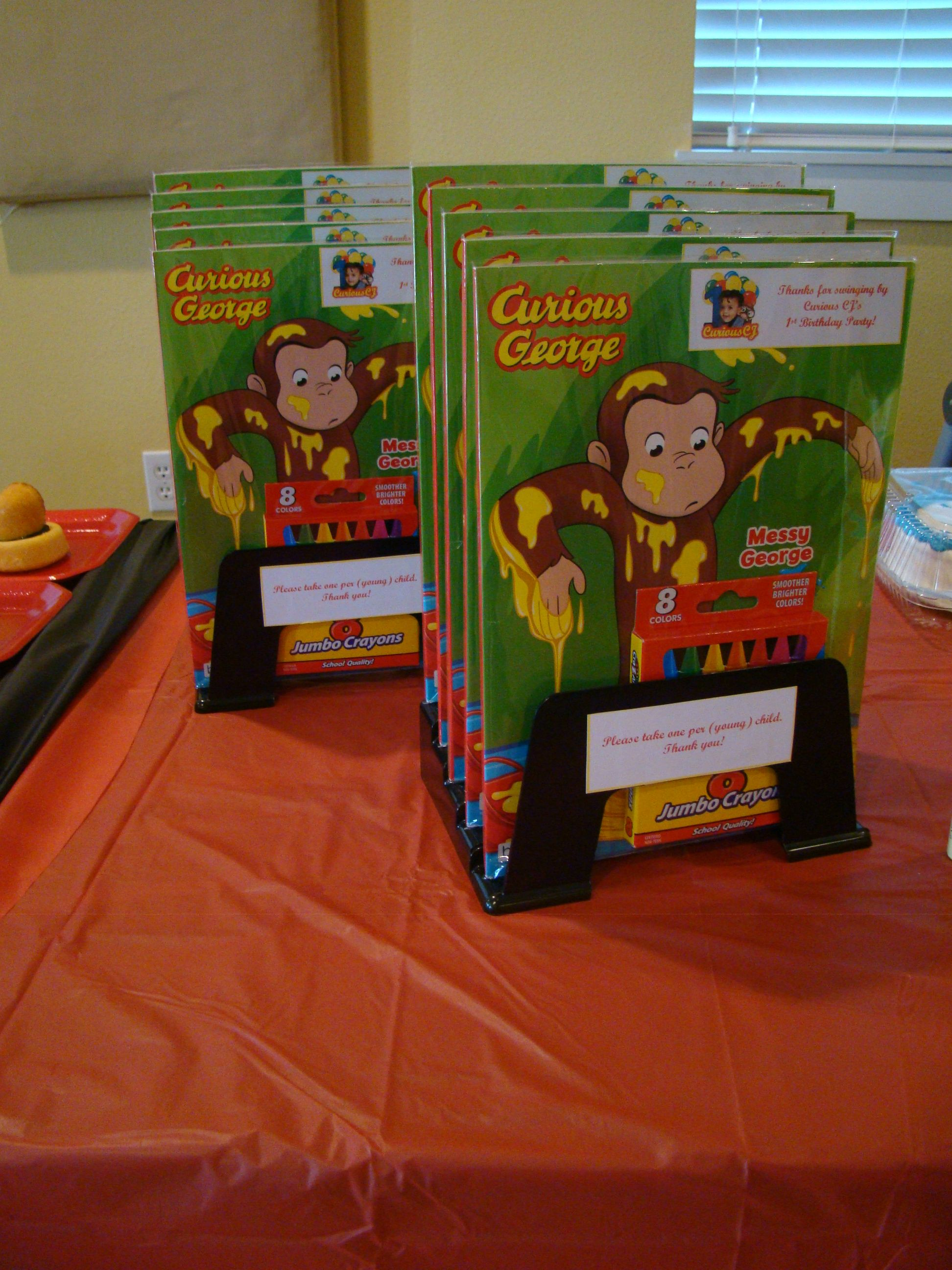 take away favors for curious george 1st birthday partycurious george coloring book - Curious George Coloring Book In Bulk