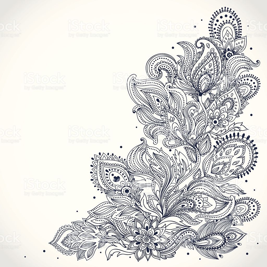 53ac090c3 Black and white Indian floral pattern on a white background royalty-free  stock vector art