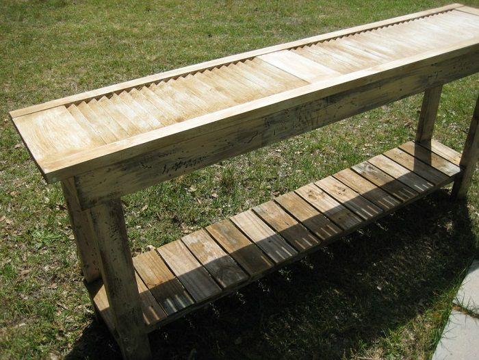 table made from old shutter | Outdoor shutter table. cottageandcabin.blogspot.com