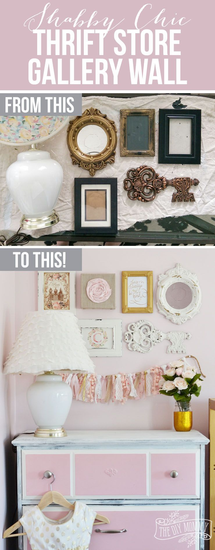a thrifted shabby chic gallery wall and lamp makeover 12monthsofdiy rh pinterest com