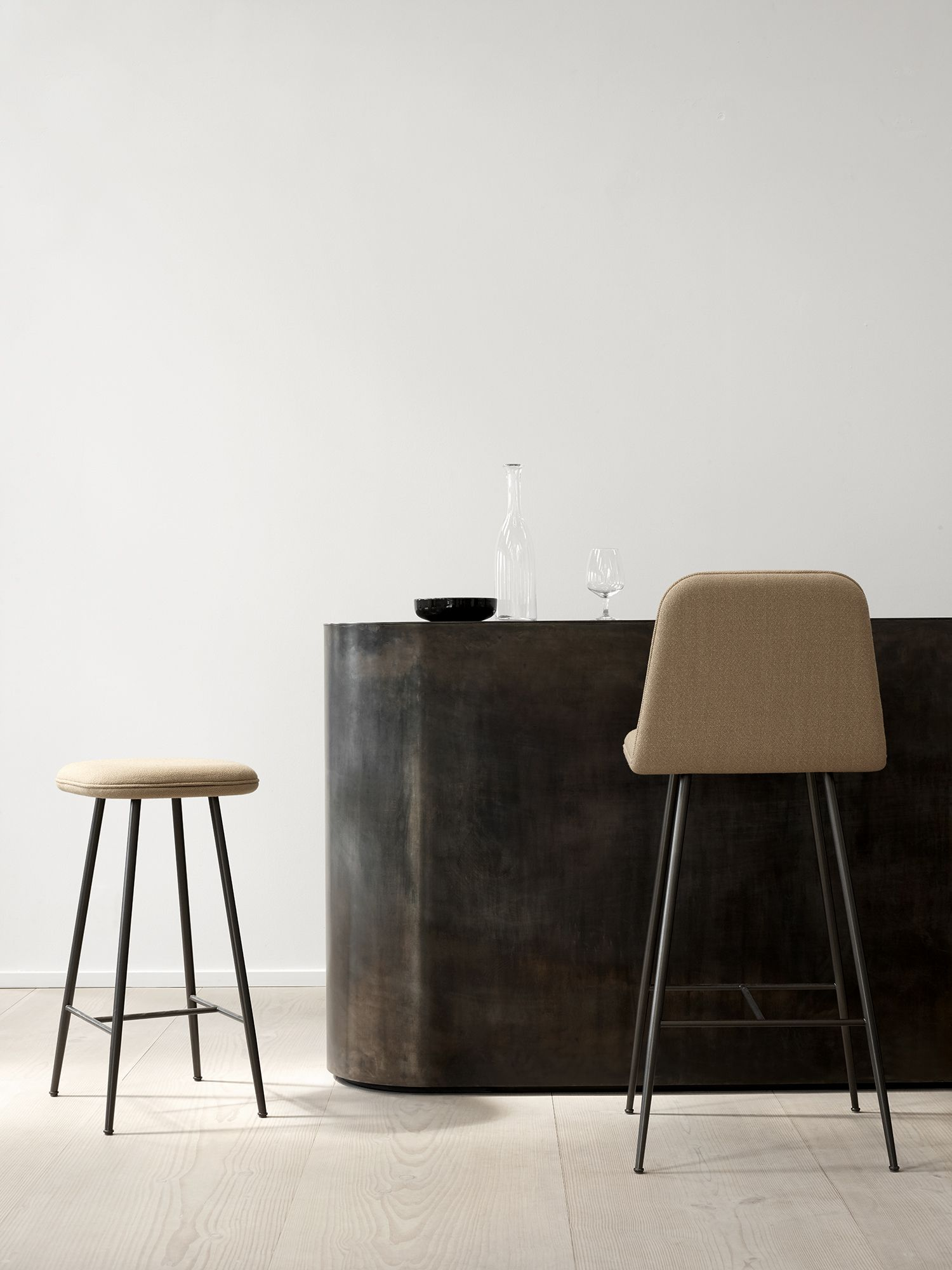 Fredericia The Spine Metal Base Barstool By Space Copenhagen A