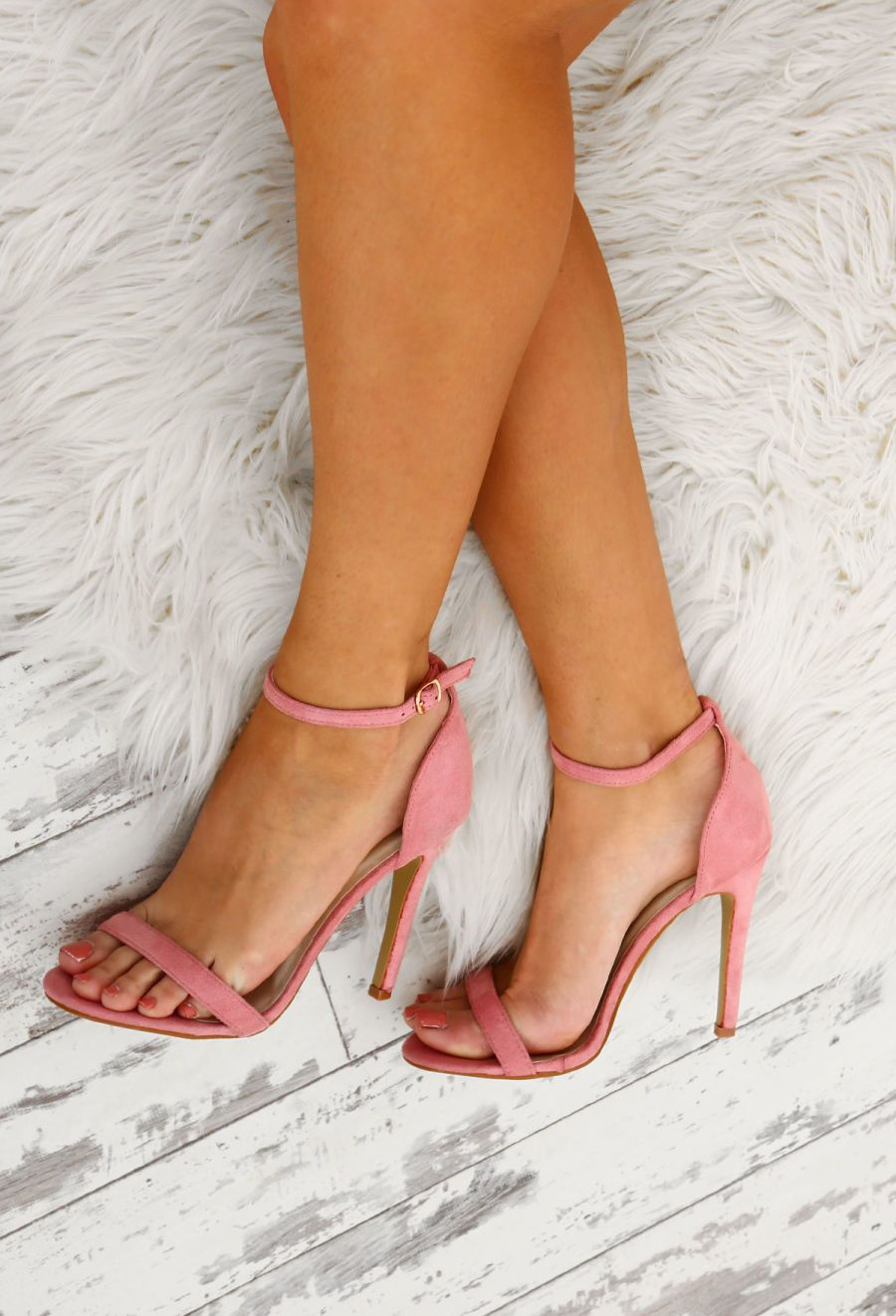 Anonymous Pink Suede Barely There Heels UK 3 (With