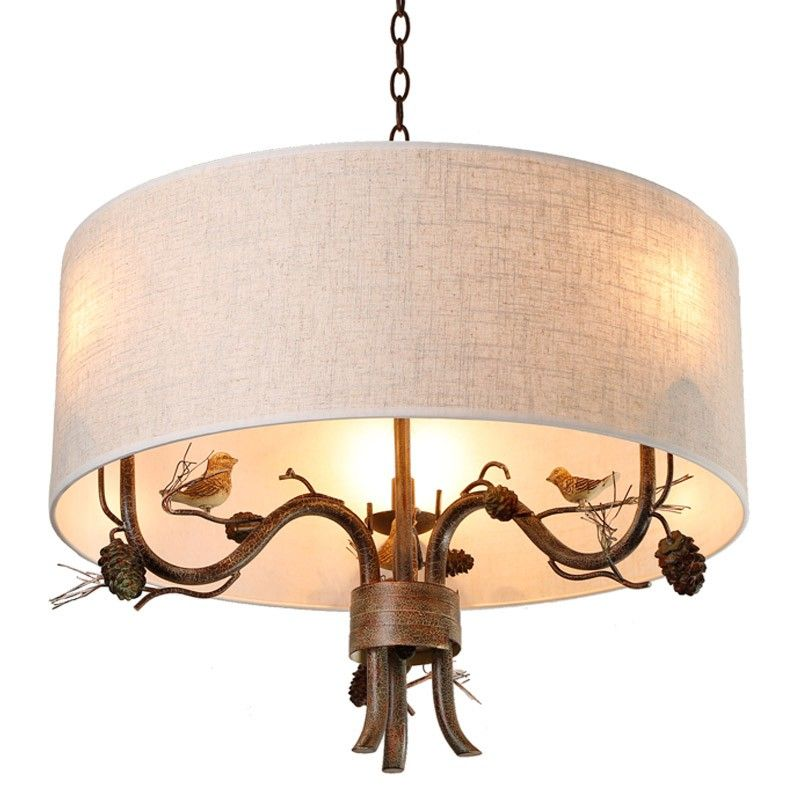 Cottage style drum fabric shade curved branch arms birdpinecone 3 cottage style drum fabric shade curved branch arms birdpinecone 3 light chandelier chandeliers aloadofball Gallery