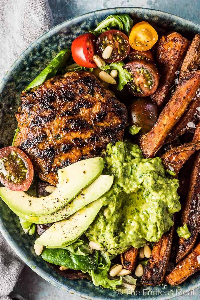 Chili Chicken Burger Bowls With Avocado Pesto Recipe Ground