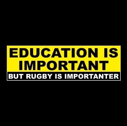 Funny education is important but rugby is importanter sport bumper sticker unbranded