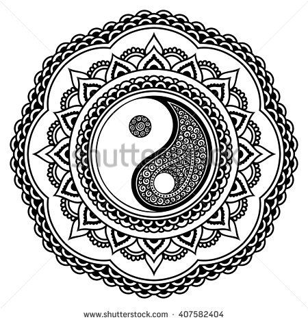 Vector Henna Tatoo Mandala Yin Yang Decorative Symbol Mehndi Style