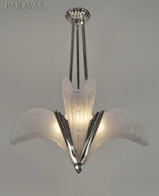 French 1930 art deco chandelier with slip shades by EJG. (paravas-ebay)