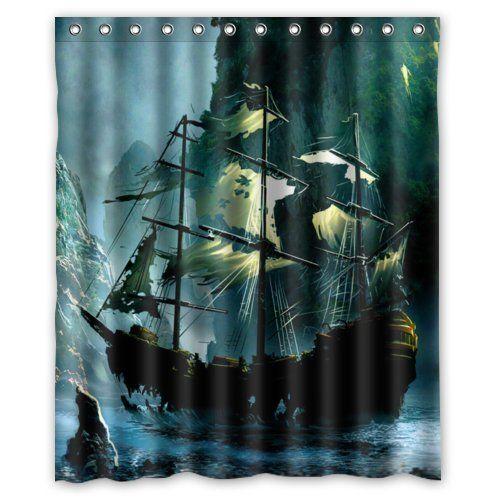 Special Design Cute Nautical Vintage Sailing Pirate Ship Theme Waterproof Bathroom Shower Curtain 60Wx72H InchBathroom Decor