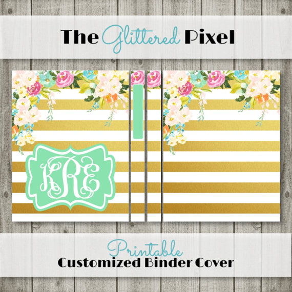 printable binder cover watercolor floral planner cover personalized binder insert 85 x 11