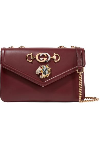 712caf025fc8 Gucci | Rajah medium embellished leather shoulder bag | NET-A-PORTER.COM