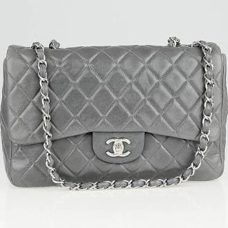 Chanel Grey Quilted Washed Lambskin Leather Classic Jumbo Flap Bag With Images Used Chanel Bags Bags Chanel