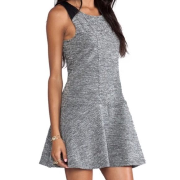 "Sanctuary boucle dress Knit boucle dress with vegan leather strap and back yoke. 43% cotton, 57% polyester. Machine washable. 33"" length. Retails for $99. Sold out online. Sanctuary Dresses Mini"